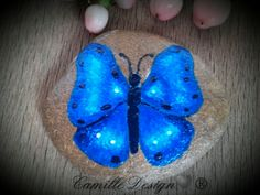 Blue butterfly - painted stones