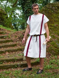 Tunic with red stripes Clavi - bright fabric for roman re-enactment Roman Clothes, Roman Fashion, Ancient Romans, Tunic, Stripes, Costumes, Fabric, Red, Stuff To Buy