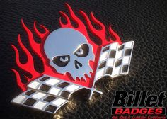 """This Flaming Skull is a 3/16"""" custom polished badge with red, white and black paint fill. For more info visit www.billetbadges.com. #billetbadges #skull #racing #emblem #custom #madeinusa"""