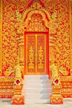 Traditional Thai Style Painting Art On The Temple Door Royalty Free Stock Photo, Pictures, Images And Stock Photography. Styrofoam Art, Portal, Thai Decor, Castle Doors, Thai Art, Thai Thai, Cultural Architecture, Cool Doors, Thai Style