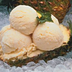 Orange Pineapple Ice Cream- so easy! 1 bottle orange crush soda, 1 14 oz can sweetened condensed milk, and 1 lg. can crushed pineapple with juice. Put in your ice cream maker Delicious!