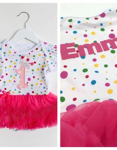 41fcc9f992c BEAUTIFUL Girls 1st Birthday Personalised tutu romper with a matching  headband and shoes. This polka