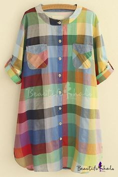 Colorful Round Neck Long Sleeves Button Down Long Shirts&Blo.- Colorful Round Neck Long Sleeves Button Down Long Shirts&Blouse Colorful Round Neck Long Sleeves Button Down Long Shirts&Blouse - Kurta Designs, Blouse Designs, Casual Dresses, Casual Outfits, Fashion Dresses, Tops For Palazzo Pants, Cute Sweatpants Outfit, Hoodie Outfit, Dress Neck Designs