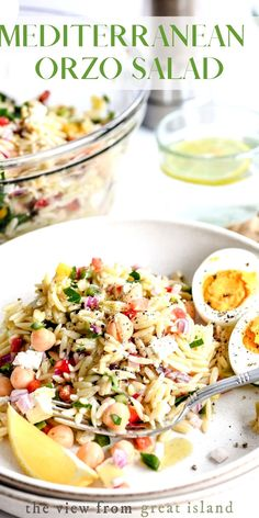 Mediterranean Orzo Salad with Creamy Lemon Dressing is a bright and healthy pasta salad made with pantry and fridge staples! #pasta #salad #mediterranean #healthy #orzo Healthy Pasta Salad, Orzo Salad, Easy Pasta Salad, Healthy Pastas, Soup And Salad, Gnocchi Recipes, Pasta Recipes, Salad Recipes, Cooking Recipes
