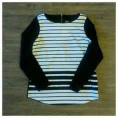 Anne Klein white & black stripped top Chic black and white stripped front and sold black top from Anne Klein.  Brand new with tags.  Has gold zipper decoration the top of the back. Anne Klein Tops
