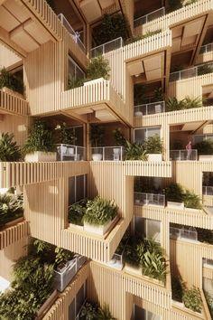 Penda Designs Modular Timber Tower Inspired by Habitat 67 for Toronto,Courtesy of Penda