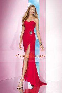 2014 Delicate Sweetheart Sheath/Column Chiffon Prom Dress Ruffled And Beaded