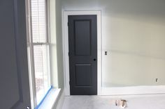 Just bought this color for the new interior doors that are going in!!!  benjamin moore wrought iron Satin finish.  Really pretty color for the doors - more of a dark gray then black