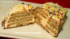 Tarta de Galletas Portuguesa   Recetas y Dulces   Y hoy que comemos Krispie Treats, Rice Krispies, Tiramisu, Bread, Ethnic Recipes, Desserts, Food, Cheesecakes, Wafer Cookies