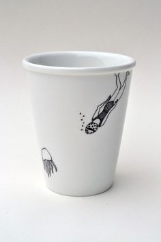 Diving girl - porcelain cup with handmade illustration