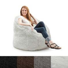 Big Joe Lux Milano Shag Fur Chair in Grey (As Is Item) (Grey - Spot Treat - Polystyrene Beads) Toddler Bean Bag Chair, Faux Fur Bean Bag, Coffee Chairs, Dining Chairs, Toddler Furniture, Living Room Remodel, Discount Furniture, Dog Bed, Planer