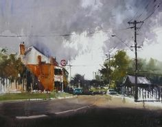 Country Pub - Collaboration in 2012 by Herman Pekel and Ross Paterson Watercolor Landscape, Landscape Paintings, Watercolor Paintings, Watercolours, Landscapes, Gouache Painting, Painting & Drawing, Perspective, Interactive Art