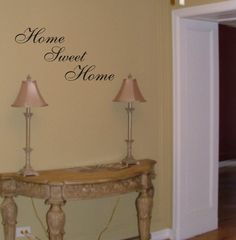 """No home should be without a Home Sweet Home wall decal. The perfect quote for your entryway, living room and well... just about anywhere! Dimensions: Each word measures aprx 11"""" wide and 3.5"""" tall. Lo"""