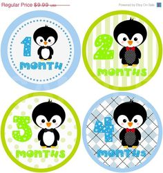 SUPER SALE Monthly Onesie Stickers - Cutie Penguin Boy  - 13 Stickers (Just Born Included) - Baby Month Stickers - Baby Onesie Stickers. $8.49, via Etsy.