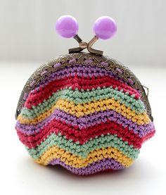 Crochet coin purse/Retro style/Crochet accessories by CraftKompot Crochet Wallet, Crochet Coin Purse, Crochet Purse Patterns, Crochet Purses, Crochet Fabric, Diy Crochet, Crochet Baby, Fabric Purses, Knitted Bags