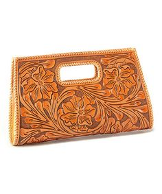 Loving this Tan Gretchen Handle Clutch on #zulily! #zulilyfinds  More tooled leather style!!!!