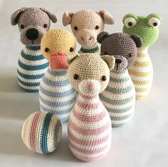 muecos de ganchillo ** This is a crochet pattern, NOT the finished toy!** The pattern is written in English (US terms) The pins will be approx. 20 cm/ high, made with hook size Ski Crochet Game, Crochet Baby Toys, Crochet Hook Sizes, Crochet Patterns Amigurumi, Crochet Gifts, Crochet Animals, Crochet For Kids, Crochet Hooks, Wire Crochet