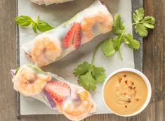 These delicious, flavorful shrimp spring rolls with peanut sauce are ready in under 45 minutes!