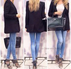 #Helmut Lang blazer | #Forever21 sweater | #Zara jeans | #Valentino open toe/mesh boots | #Hermès 'So Black' #Berkin35 |