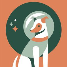 Eric R. Mortensen   A three-color screenprint to celebrate the 50th anniversary of Laika, the first dog in space.