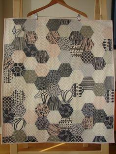 Modern, Grey hexagon quilt with a tutorial.