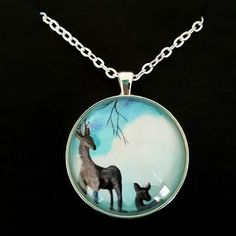 Deer with Fawn at the edge of the Forest. Artwork in diameter Silver plated Pendant Pendant Jewelry, Jewelry Art, Jewelry Design, Pendant Necklace, Jewellery, Ocean Colors, Cool Gifts For Women, Colorful Artwork, Whimsical Art