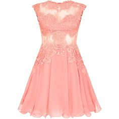 CILLA Coral Skater Dress (1.190 BRL) ❤ liked on Polyvore featuring dresses, short dresses, skater dress, short prom dresses, mini prom dresses, red mini dress and coral cocktail dress