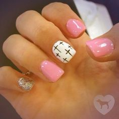 Nail Design Ideas 2015 fall nail art ideas 15 designs inspired by autumn httpwwwmeetthebestyoucomfall nail art ideas 15 designs inspired by autumn www Pink White And Black With Gold Glitter And Cross Nail Art Design Nails Pinterest