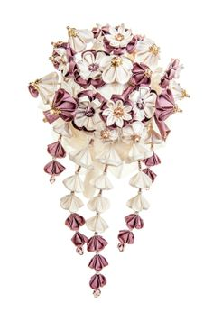 Helene Ivory & Wisteria cascading Bridal Bouquet unique handmade silk flowers with Swarovski crystals