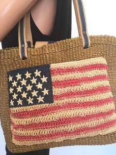 Amanda Smith Sisal Bag American USA Flag Designer Fashion Boho Chic  | eBay