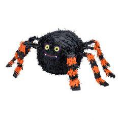Piñata araña: Esta piñata Halloween mide alrededor de 24 cm de alto.Representa una araña negra con patas naranjas.Una abertura te permitirá meter los caramelos o lo que quieras.Esta...