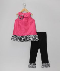 Take a look at this Fuchsia & Black Zebra Tunic & Leggings - Toddler & Girls by Rare Editions on #zulily today!