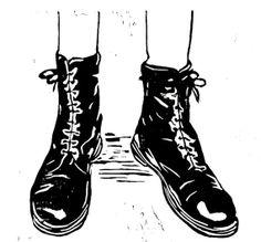 chiaralucciole: linocut illustration - the shoes series - boots original art…