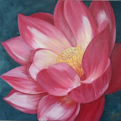 Manjari's Lotus Flower Acrylic on Bax Canvas 40x40cm