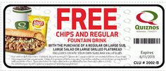 Restaurant Coupons and Deals: Quiznos Free Chips & Drink Coupon