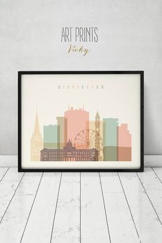 Birmingham art print Birmingham skyline Wall art United