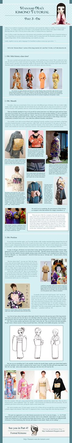 Fourth part on my kimono tutorial. Finally managed some free time to put this together! ^^ The info here is summarized, for more info and example pict. Kimono Tutorial - Part 04 Japanese Costume, Japanese Kimono, Japanese Art, Japanese Design, Japanese Outfits, Japanese Fashion, Asian Fashion, Fashion Women, Women's Fashion