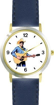 Country Western Singer Playing Guitar 2 Musician - WATCHBUDDY® DELUXE TWO-TONE THEME WATCH - Arabic Numbers - Blue Leather Strap-Size-Children's Size-Small ( Boy's Size & Girl's Size ) WatchBuddy. $49.95. Save 38%!