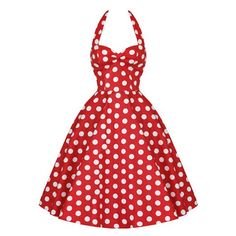Vintage Halterneck Backless Polka Dot Print Ruffled Sleeveless Dress For Women