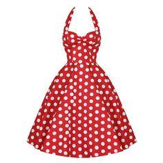 Vintage Halterneck Backless Polka Dot Print Ruffled Sleeveless Dress For Women