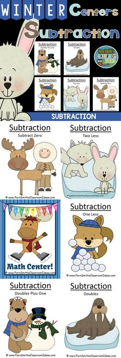 Winter Math: Winter Themed Five Strategies for Subtraction Centers and Interactive Notebook Activities for Winter Preview includes the #FREE Winter Math Center Sign! #TpT $Paid #FernSmithsClassroomIdeas