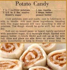 Old fashioned Potato Candy. Retro Recipes, Old Recipes, Vintage Recipes, Candy Recipes, Holiday Recipes, Cookie Recipes, Dessert Recipes, Christmas Recipes, Fudge Recipes