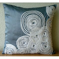 Throw Pillow Covers Accent Pillow Decorative Pillow Couch Sofa Pillow 16x16 Inches Blue Silk Pillow Embroidered Lace Embroidery Snow Centric via Etsy