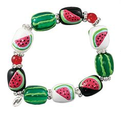 Kate & Macy Style Approximately Hand painted beads on a stretch bracelet. Manufactured by Clementine Design. Watermelon Outfit, Watermelon Patch, Watermelon Art, National Watermelon Day, The Baby Sitters Club, Fashion Bracelets, Beaded Jewelry, Glass Jewelry, Jewellery