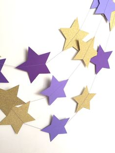Purple and Gold Stars Garland by mikaspartyshop on Etsy