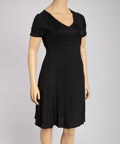 Another great find on #zulily! Black Surplice Dress - Plus #zulilyfinds