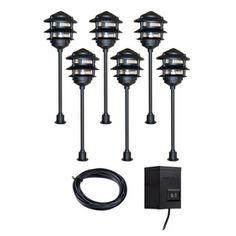 portfolio 6 light black low voltage incandescent path lights landscape. Black Bedroom Furniture Sets. Home Design Ideas