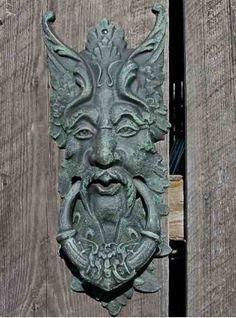 Large Green Man Gate Keeper & Door Knocker Cast Iron Verde Finish $65
