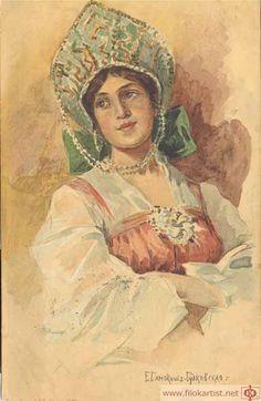 'A Girl in Russian Costume', watercolour by Elena Samokish-Sudkovskaya Russian Folk, Russian Art, Russian Style, Sketch Painting, Watercolor Paintings, Film Dance, Russian Culture, Figure Sketching, Antique Art