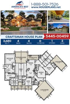 A fabulous Craftsman home, Plan 5445-00459 showcases 3,680 sq. ft., 4 bedrooms, 4 bathrooms, a guest room, a keeping room, an open floor plan, a media room, and a study. #craftsman #architecture #houseplans #housedesign #homedesign #homedesigns #architecturalplans #newconstruction #floorplans #dreamhome #dreamhouseplans #abhouseplans #besthouseplans #newhome #newhouse #homesweethome #buildingahome #buildahome #residentialplans #residentialhome